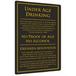 Under Age Drinking Notice, Gold on Black BA123 / BSS02